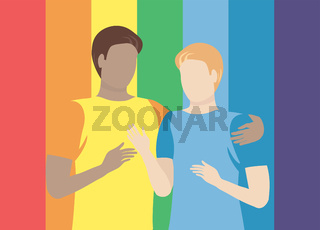 Two different skin colour men against rainbow background. Pride month concept. LGBTQ concept. Equali