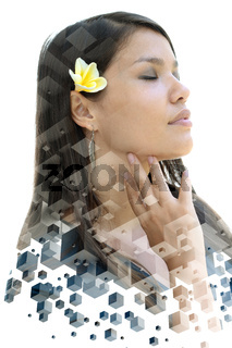 A portrait of a woman with closed eyes combined with geometric shapes in a double exposure technique
