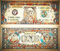 one dollar isolate on white paper background.