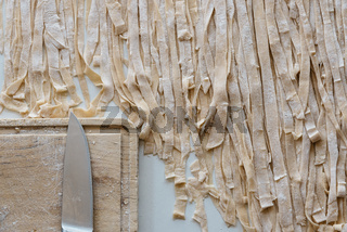 Close-up of the process of making homemade pasta
