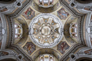 Antique baroque interior with vintage decoration. Royal Church of San Lorenzo (St. Lawrence) in Turin, Italy