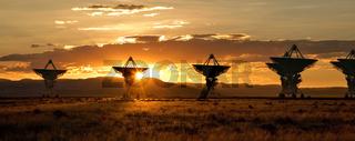 Satellite Dishes at Sunset