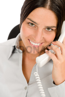 Smiling businesswoman attractive calling