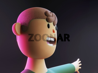 Close up face of 3d rendered cartoon character with opened mouth on black background in neon light. Activist face, politics, young man.