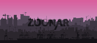 City skyline silhouette in a flat style at pink sunset. Modern cityscape and cargo port with cranes. Layers for parallax. Vector EPS10.