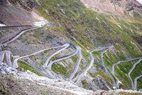 Stelvio mountain pass or Stilfser Joch scenic road view