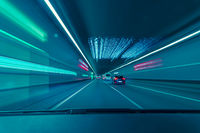 Highspeed drive through a underground tunnel from the car drivers view.