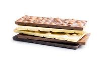 Chocolate bars with hazelnuts.