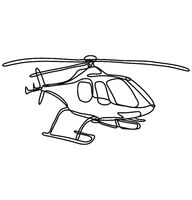 Helicopter in Full Flight Continuous Line Drawing