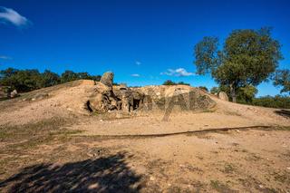 Dolmen of Lacara, funeral chamber near La Nava de Santiago, Extremadura. Spain