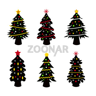 Set of 6 pieces of Christmas decorated Christmas trees on a white background - Vector