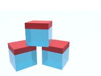 Three glass cubes