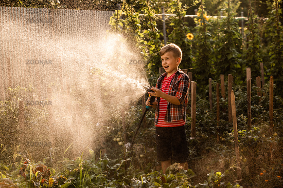 The little boy waters the plants making large splashes of water