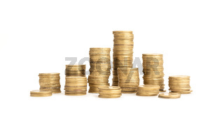 Pile of Coins isolated on white background. Money or finance concept