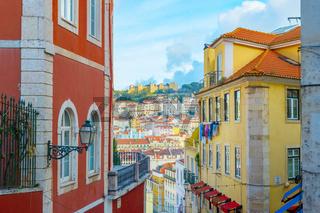 Lisbon Old Town street castle