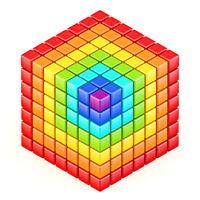 Rainbow colored cube 3D