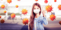 Young girl with protection mask against corona virus at school.
