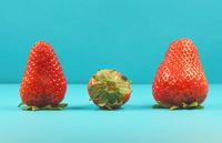 Detail of three fresh red strawberries as a symbol for summer and happiness