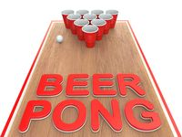 Beer pong text with plastic cups 3D