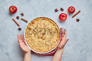 Female hands and homemade apple pie with sour cream filling on light background, top view.