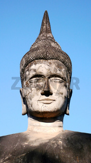 Famous historic buddha sculpture in the Laos