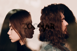 Couple of young man and woman portrait. Relationship concept. Multiple exposure