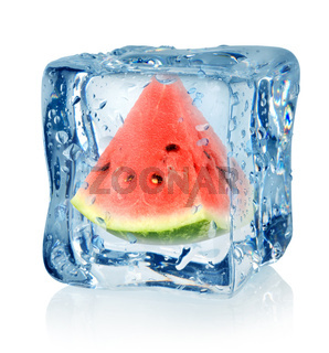 Ice cube and watermelon