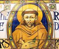 Image of St. Francis in Assisi village in Umbria region, Italy. The town is famous for the most important Italian Basilica dedicated to St. Francis - San Francesco.