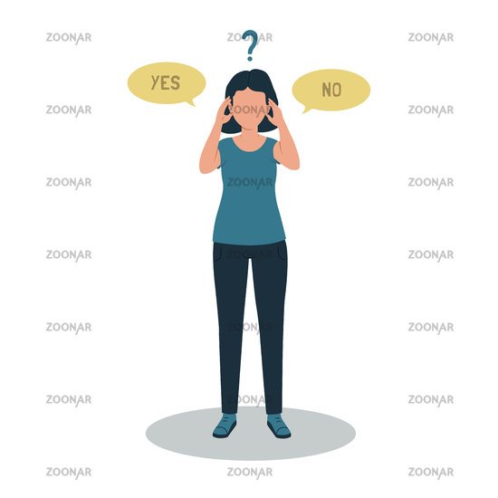 The woman chooses either yes or no. Vector illustration of a girl with question marks.