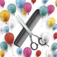 Scissors Comb Colored Balloons