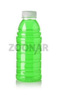 Plastic bottle of green sweet water