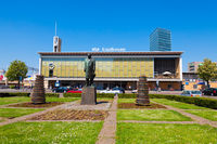 Railway station in Eindhoven with the statue of Anton Philips, co-founder of Royal Philips Electronics N.V.