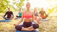 Meditation zusammen im Yoga Kurs draußen in Natur