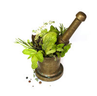Herbs and pestle in mortar