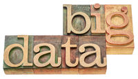 big data word abstract in wood type