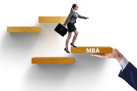 Education concept with businesswoman on steps