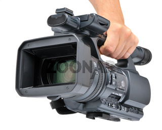 Videocamera in a hand