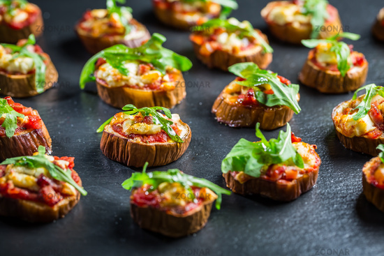 Mini eggplant appetizers with tomato