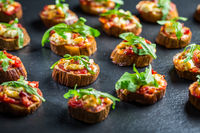 Mini eggplant appetizers with tomato