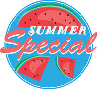 round blue SUMMER SPECIAL sticker or sign with slices of watermelon