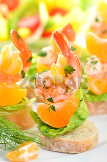 Fingerfood mit Scampi