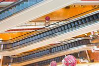 Escalators shopping mall. Shanghai, China