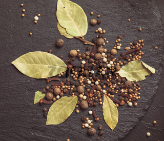 Spices ingredients for pickling vegetables. Concept culinary recipe preservation
