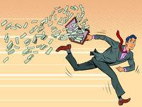 businessman runs and loses money Pop art retro illustration