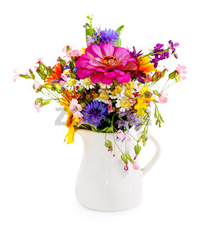 Bouquet of flowers in the white vase