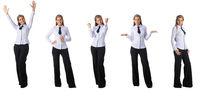 Portraits of business woman on white