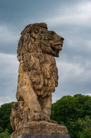 The monumental lion atop the Gileppe Dam