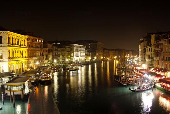 Grand Canal in Venice. NIght