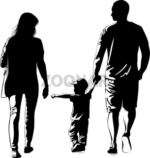 Black and white silhouette image of a walking family with a child