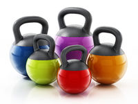 Group of various sized kettlebells isolated on white background. 3D illustration